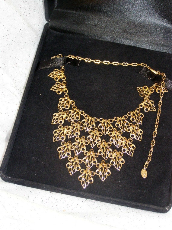Vintage goldtone bib necklace by Vendome