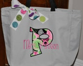 Personalized Tote Bag with Large Letter Applique