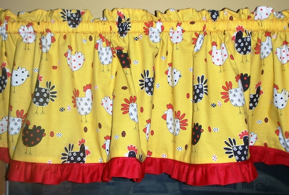 Rooster Valance for Kitchen or Dining Room