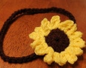 Crochet Sunflower Headband Any size
