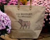 To Market To Market all natural jute bag with pink pig