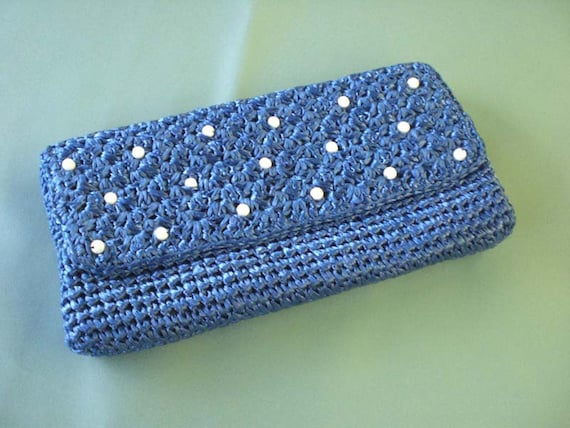 Vintage Electric Blue Retro Pearly Clutch