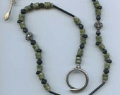 Ophidian - Russian Serpentine Jade, sterling and glass necklace