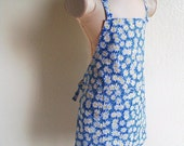 Childrens Apron - Brilliant Blue Daisy Apron, Spring is in the air, a Sweet kids apron to cook and create fun in