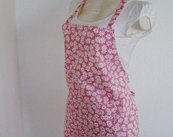 Adult Apron -Pink Pretty Apron with Daisies scattered all over - Great for cooking, baking, creating arts and crafts