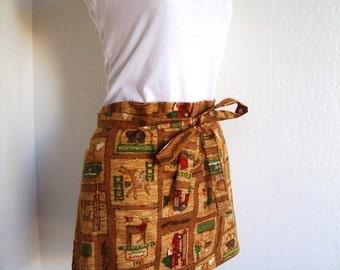 Half Apron - SUMMER SALE Cozy Cabin Print Apron - A cute vendor or hostess half apron