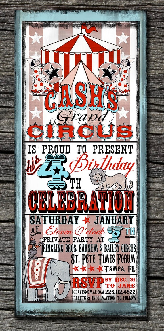 Vintage Circus Invitations and Thank You cards (sold separately)