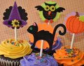 12 Halloween Cupcake Toppers - Series 1 - Halloween Decorations - Halloween Party Decorations
