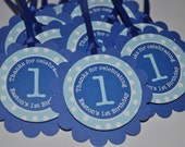 Birthday Party Favor Tags - Boys 1st Birthday Favors - Dark Blue and Light Blue Polkadot - Boys Birthday Party Decorations - Set of 12