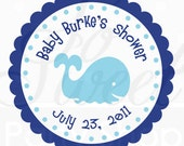 24 Baby Shower Favor Sticker Labels - Whale Theme - Personalized