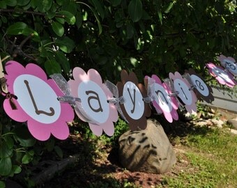 Girls Birthday Banner - Pink and Brown Flowers - Girl's Birthday Party Decorations