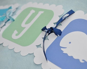WHALE Baby Shower Banner - Whale Theme - It's a Boy - Boy Baby Shower Decorations - Whale Theme Baby Shower