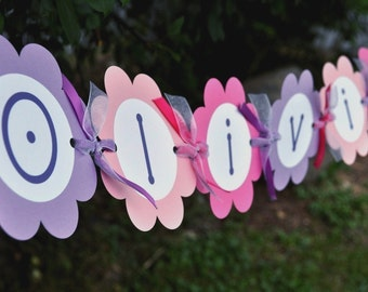 Birthday Banner - Girls 1st Birthday - Flowers and Butterflies