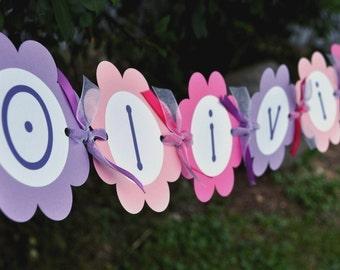 Birthday Banner - Girls 1st Birthday - Flowers and Butterflies
