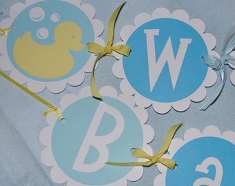 Baby Shower Banner - Boy or Girl - Rubber Ducky Theme - Personalized Blue, Yellow, White