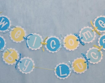 Baby Shower Banner, Rubber Ducky Baby Shower, Boys Baby Shower, Welcome Baby Banner, Personalized Banner, Yellow and Blue Baby Shower