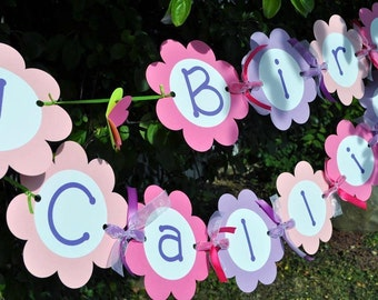 Girls Happy Birthday Banner - Flowers and Butterflies - Personalized