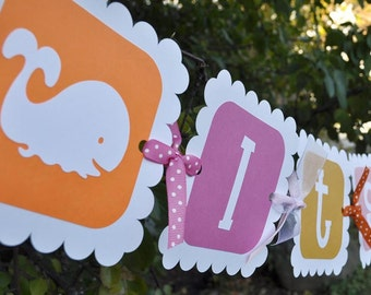 Whale Baby Shower Banner - Girls Baby Shower - Pink and Orange - Whale theme - It's a Girl