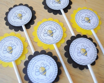 12 Baby Shower Cupcake Toppers - Bumble Bee Theme - Mommy To Bee