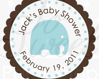 Boys Baby Shower Elephant Favor Sticker Labels, Favor Stickers, It's a Boy, Elephant Theme, Baby Shower Blue and Brown - Set of 24 Stickers