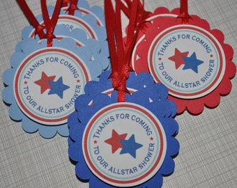 12 Boys Birthday or Baby Shower Party Favor Tags - Sports All Star Theme - Red, White and Blue