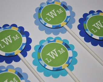Boys 1st Birthday Party Cupcake Toppers - Blue Polkadots - Personalized - Set of 12