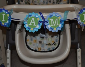 1st Birthday Highchair Banner, I am 1 Banner, Boys Birthday Party Decorations, Party Supplies, Blue and Green Polkadots