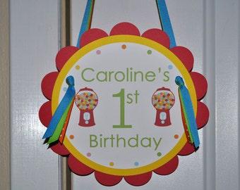 Bubblegum Birthday Party Door Sign 1st Birthday - Red Bubblegum Theme, Boy or Girl Birthday