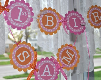 1st Birthday Banner, Party Banner, Personalized Birthday Banner, Girls Birthday Party Decorations - Orange, Pink and White Polkadots