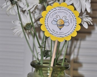 3 Centerpiece Sticks - 3 inches - Mommy To Bee Bumble Bee Baby Shower