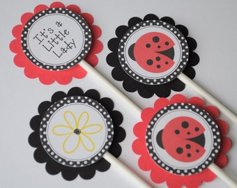 12 Cupcake Toppers Ladybug Personalized - Birthdays or Baby Showers - Personalized Party Decorations