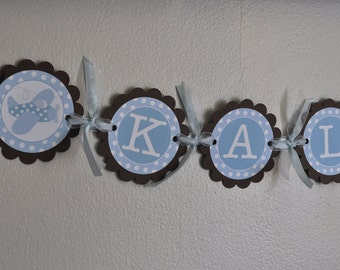 Boy Baby Shower Banner - Personalized With Name - Airplanes and Polka Dots