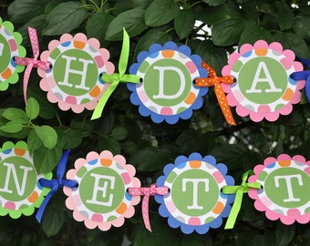 Happy Birthday Banner - Colorful Polkadots - Blue, Pink, Orange and Green - Birthday Party Decorations