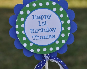 1st Birthday Cake Topper - Red, Blue and Green Polkadots - Personalized Birthday Decorations