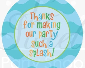 Under The Sea Favor Stickers - Pool Party Favor Tags - Birthday Stickers - Mermaids and Sea Creatures - Set of 24