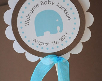 Boy Baby Shower Cake Topper Elephant Theme - Personalized With Baby's Name