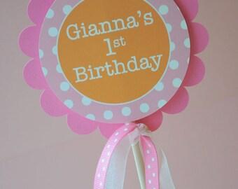 Birthday Cake Topper - Polkadots Orange, Pink and White - Girls 1st Birthday Party Decorations