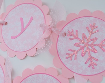 Birthday Banner, Snowflake 1st Birthday Banner, Girls Birthday Party Decorations, Snowflake, Winter One-derland, Christmas Birthday Banner