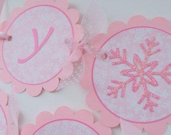Snowflake 1st Birthday Banner - Snowflake, Winter One-derland - Christmas Birthday Banner