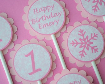 1st Birthday Cupcake Toppers - Pink Snowflake, Winter One-derland - Girls Birthday Party Decorations - Set of 12