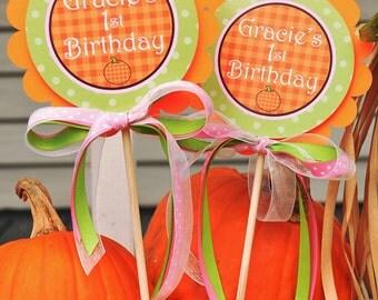 Pumpkin Centerpiece Sticks - Pumpkin Birthday Decorations - Pumpkin Baby Shower Decorations - Set of 2