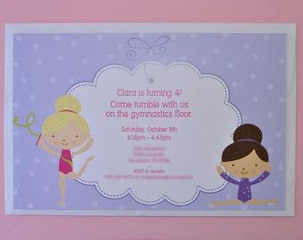 Gymnastics Birthday Invitations - Girls Birthday Party Invitations - Gymnastics, Tumbling - Set of 12