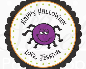 Halloween Favors Personalized Stickers - Spider - Halloween Favors, Halloween Party