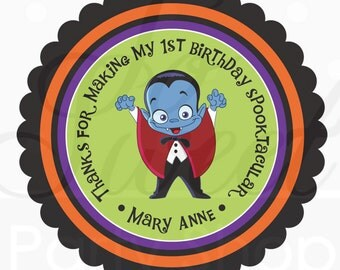 Halloween Favors Stickers Personalized - Dracula - Favor Sticker Labels - Halloween Decorations, Trick or Treat