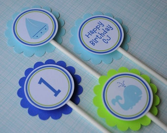 12 Birthday Cupcake Toppers - Nautical, Whale, Sailboat