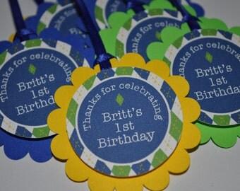 12 Boys 1st Birthday Party Favor Tags - Argyle Birthday Party Decorations - Golf Birthday Party - Personalized