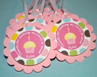Cupcake Birthday Favor Tags, Girls Birthday Party Favors, 1st Birthday, Pink Birthday Decorations, Cupcakes and Polkadots - Set of 12