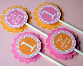 Cupcake Toppers Girls 1st Birthday, Personalized Party Decorations, Cupcake Picks, Orange, Pink and White Polkadots - Set of 12