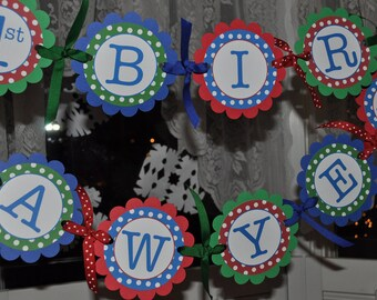 Boys Birthday Banner, 1st Birthday Banner, Happy Birthday Banner, Party Decorations, Personalized Banner, Red, Blue and Green Polkadots
