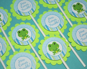 12 Cupcake Toppers - Boys Baby Shower or Birthday Frog Theme